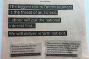 Labour: the party has taken an ad in the FT