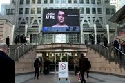 The 'look at me' billboard at Canary Wharf