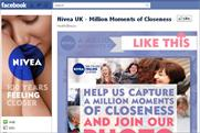 Nivea: 'million moments of closeness' Facebook page