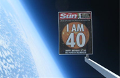 The Sun: launches anniversary cover into space