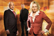 Dragon's Den: New dragons Rasul and Meyer with host Dominic Byrnes