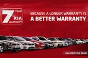 Kia: pushing the seven-year warranty on Kia.co.uk