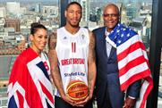 Great Britain players Lauren Thomas-Johnson and Drew Sullivan and former US star Clyde Drexler at the launch of Olympics ticket sales