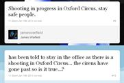 Twitter: circulates false rumours of a shooting in London