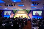 Host Ruth Mortimer, Hamish Nicklin, Ronan Harris and Richard Huntington on stage at the ISBA Conference
