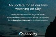 Discovery: posts a message to fans on its Facebook page