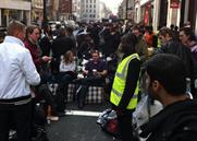 Shoppers get comfy outside Apple's Regent Street store earlier today (Pic from Firebox.com)