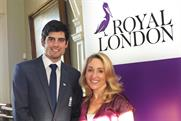 Royal London: group brand director Clare Salmon with England cricket captain Alastair Cook
