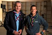Vodafone CEO Jeroen Hoencamp (left) and Chief Scout Bear Grylls (right)