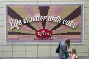Mr Kipling: the poster created by JWT London from 13,360 individual cakes at Westfield London