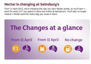 Sainsbury's has announced changes to its Nectar rewards scheme