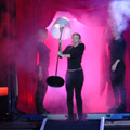 Floor lamp: the organisers pumped out Madonna's Ray of Light to herald the item