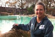 Jo Blake: Arena Media's head of press with new penguin friend at London Zoo