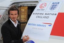 Beckham signs BA plane for England 2018 World Cup bid
