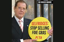 Sir Roger Moore fronts ad for PETA targeting the sale of foie gras in Selfridges