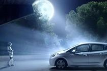 Robot Pinocchio goes joy-riding in Geppetto's Peugeot 208