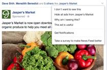 Facebook asks users why they don't want to see ads