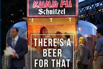 Beer with Kung Fu schnitzel? Britain's Beer Alliance outdoor ads poke fun at street food