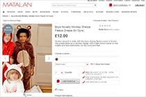 Matalan defends 'racist' monkey onesie image