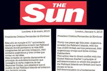 The Sun pens press ad for Argentina to say 'hands off the Falklands'