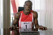 Bolt becomes Branson in Virgin Media speed spoof