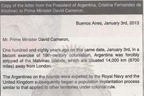 Argentina takes out newspaper ad appeal to Cameron on Falkland Islands
