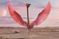 Three trades purple Muppet for 'giraffe-amingo' in new brand campaign
