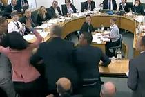 Murdoch attacked with 'shaving foam' in Parliament