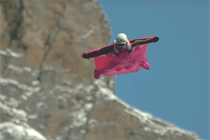 """Dunkin' Donuts """"#WTFast"""" campaign takes flight in a fuchsia wingsuit"""