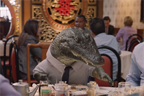 An alligator sheds no crocodile tears when he can't pick up the check