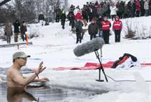 Would you pitch for funding, standing in a frozen lake?