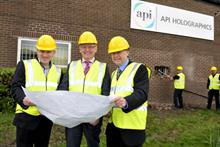 Stephen Clarke (centre) with colleagues at the construction site