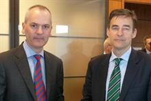 St Ives ceo Patrick Martell (l) with Wyndeham Press Group ceo Paul Utting after the deal was ratified at yesterday's EGM