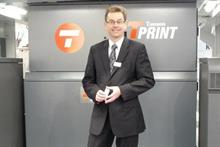 Timsons T-Print inkjet book production line and UK MD Jeff Ward at Drupa