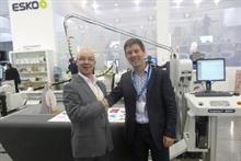 Retail Services Group managing director James Dixon and Esko sales account manager Paul Hitchings at Drupa
