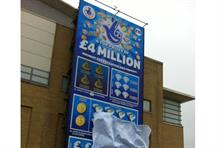 The giant scratchcard mounted at White Rose Shopping Centre, Leeds