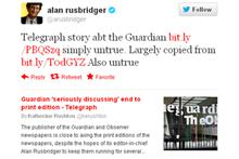 Guardian editor-in-chief Alan Rusbridger took to twitter to deny the rumour
