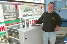 JD Printing Services managing director and founder Jimmy Dalton with the AeroCut Quatro machine