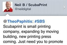 Scubaprint tweet: retweeted by Theo Paphitis to 250,000 followers