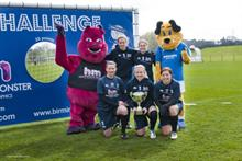 Hollywood Monster's mascot helps Birmingham City Ladies celebrate their FA Cup win on Saturday