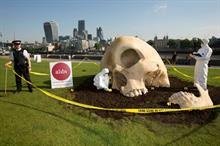 UKTV plants giant skull for Alibi relaunch
