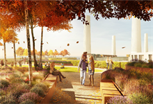 Allotments, BBQ area and fitness deck part of James Corner's Battersea Power Station roof garden