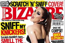 Bizarre cover star models 'scratch 'n' sniff' latex underwear