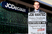 'Job wanted' sandwich board grad hired by JCDecaux