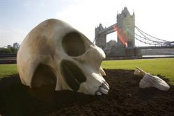 UKTV's Alibi launches rebrand with giant skull on London South Bank