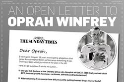 The Sunday Times poses questions for Lance Armstrong in print ad