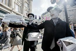 In pictures: HarperCollins stages 1920s newspaper stunt for Poirot launch