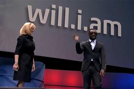 Black Eyed Peas front man will.i.am with Deborah Conrad, vice president and chief marketing officer, Intel Corporation