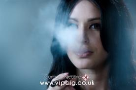 VIP e-cigarette ad: features a woman 'smoking'