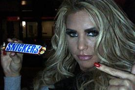 Katie Price: posts Snickers activity on her Twitter page